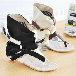 Wholesale Woman Flat Sandals Size 43 - Wholesale- Fashion Big Size 34-43 Fashion Women Gladiator T straps Flat Heel Sandals Summer Shoes 2015 Brand New Casual Dress Chic Sandals