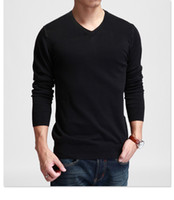 Wholesale Warm Slim Shirt Long Sleeves - Wholesale-Comfortable Men slim solid color sweat black and gray long-sleeve V-neck basic shirt sweater thin warm spring fashion style
