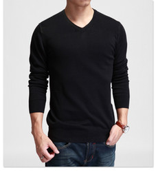 Wholesale Thin White V Neck Sweater - Wholesale-Comfortable Men slim solid color sweat black and gray long-sleeve V-neck basic shirt sweater thin warm spring fashion style