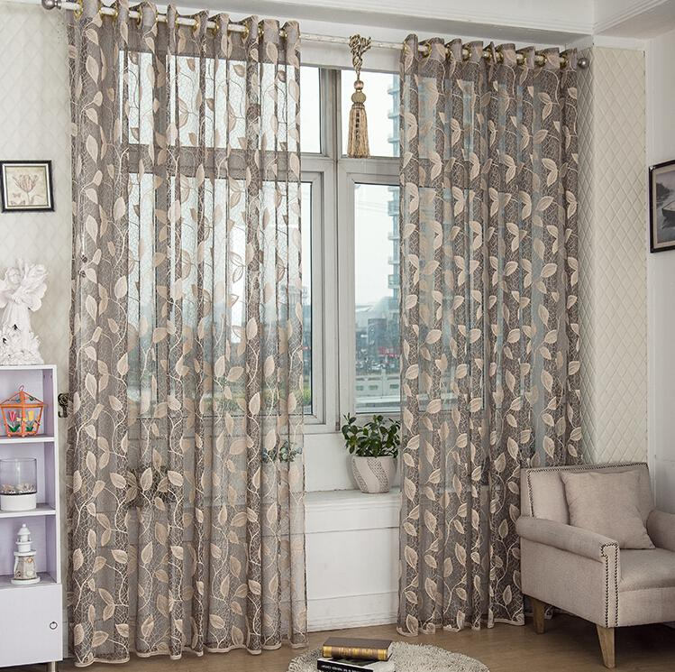wholesale leaves design sheer curtain panel lace fabric curtain for living room three colors to choose sheer panels semi sheer curtains