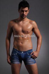 Wholesale Cowboy Sexy Man - Wholesale-NEW Sexy Men's Underwear,Unreal Jeans,Cowboy Milk Silk Male Pant, Brand Quality Boxer,Man Panties ,Wholesale,Free