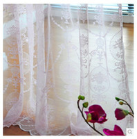 Wholesale Voile Lace Curtains - Wholesale-(2.7m high) Pastoral gauze white pink voile tulle sheer window curtains for windows and living room modern lace jacquard curtain