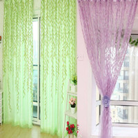 Wholesale Willow Room Pattern Voile Window sheer Curtains Panel Drapes Scarfs Curtain