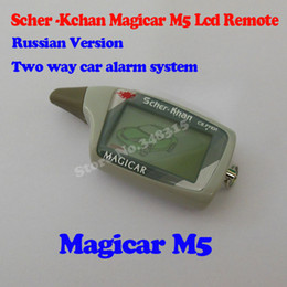Wholesale Two Way Car Alarms - Wholesale-2015 high quality russian version M5 LCD Remote For Scher-Khan Magicar 5   Magicar 6 Two way car alarm system