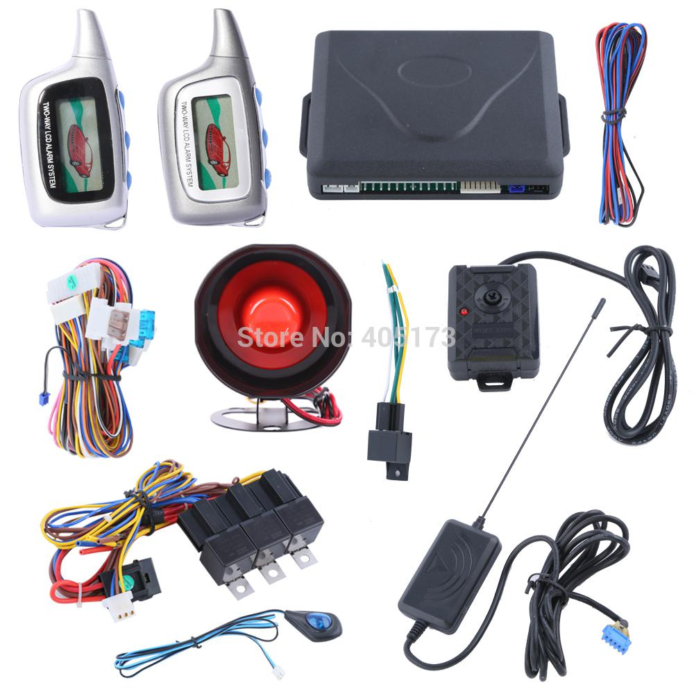 wholesale quality two way car alarm system with remote engine start starter colorful lcd display turbo protection sos long remote distance from yaseri