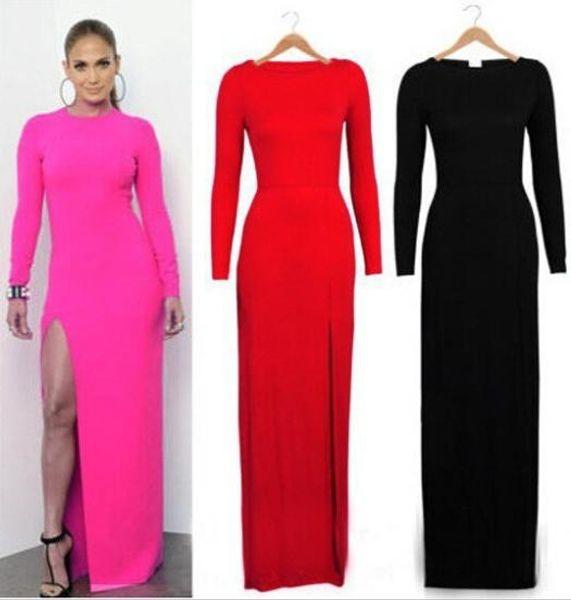 Wholesale-CLOTHES LQ4548 ultima estate 2015 o collo novità partito vestito moda donna sexy vestito lungo alta fessura maxi abiti plus size