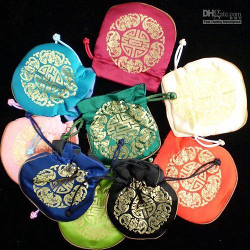 Lujo feliz pequeño banquete de boda bolsas de regalo cordón de alta calidad del estilo chino de seda Brocade favor bolsa para invitados al por mayor