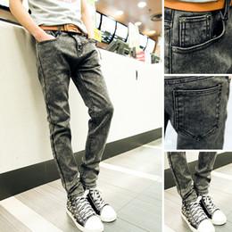 Wholesale famous foot - Wholesale-new men jeans famous brand snow washed skinny jeans men Slim feet designer casual denim pants