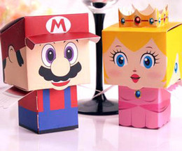 Wholesale Super Mario Candy Boxes - Wholesale-Free shipping! 50pcs lot cartoon Super Marie Bros princess Bride and Groom wedding favors Mario candy box for wedding gifts