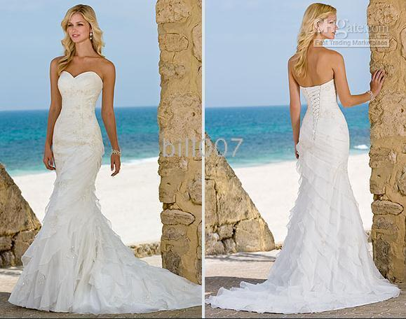 Wholesale Ella Wedding Dresses Beach Trumpet Mermaid Organza Gown ...
