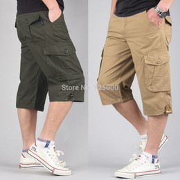 Wholesale Yellow Cargo Shorts For Men - Wholesale-Plus size M-5XL 6XL 7XL 42 44 46 mens overalls fashion shorts for man bermuda loose casual cargo NEW summer trousers
