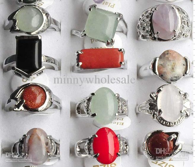 Hot Sale Colorful Natural Stone Ring Handmade Jewelry Fashion Costume Wedding Rings Mixed 50pcs SR02