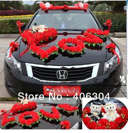 "Wholesale Wedding Cars Flowers Set - Wholesale-Free shipping by EMS,1 set lot,wedding car decoration set, RED,pink,purple ""LOVE "", wedding car flower, house decoration"