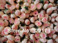 Wholesale Bulk Flowers For Crafts - Wholesale-Wholesale 500X Champagne Silk Rose Heads Cheap Artificial Flower in Bulk For Wedding Arrangement Bridal Hairclips Floral Crafts
