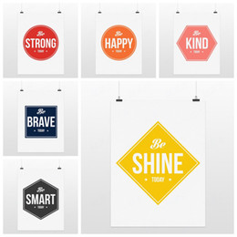 Wholesale Motivational Wall - Wholesale-6 Colorful Modern Motivational Happy Quotes Typography Hipster Poster Print Minimalist Canvas Painting Wall Art Home Decor Gift