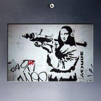Wholesale Free Picture Printing - Wholesale-Free shipment Banksy Mona Lisa Bazooka Art Picture Paint on Canvas Prints
