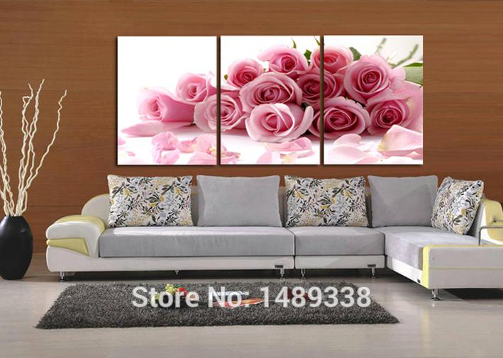 Wholesale-3 Piece Pink Rose Home Decorative Canvas Painting Living Room Paint Wall Hanging Art Picture Paint On Canvas Prints T/203
