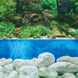 Discount painting backgrounds oils - Wholesale-eworld Double Sided Aquarium Landscape Poster Fish Tank Background 60*30CM