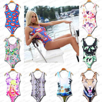Wholesale Open Crotch Bikini Set - Wholesale-8 Colors Sexy Women's Swimsuit 3D Print Open Crotch Personality Swimwear Beachwear Bikini Set beach For Woman S M L