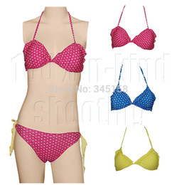 Wholesale Tankini Set Free Shipping - Wholesale-New arrival beachwear women biquini set knot tie brazilian style swimwear polka dot bikini swimwear tankini free shipping C1060