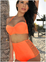 Wholesale Toby Bathing Suits - Wholesale-Free Shipping 2015 Star Models Victoria High Waisted Swimsuit Swimwear Bathing Suits Triangle Split Steel Toby Bikini