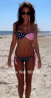 Wholesale Bikini Sale Usa - Wholesale-holiday sale Wholesale swimwear bikini  Flag bikini USA flag swimwear , America bikini,2pc lot+Free shipping