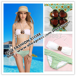 Wholesale Shining Swimwear - Wholesale-Free shipping! sexy women' swimsuit  swimwear  beachwear bikini crystal shining set solid color SM176 white+green print