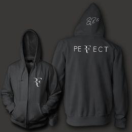 Wholesale Woman S Zip Hoodie - Wholesale-Roger Federer signature RF logo perfect men women unisex zip up hoodie Sweatshirt hoody Free Shipping