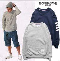 hot blue pullover men venda por atacado-Atacado-Homens Moda Cotton Sweatshirt Thom Brown Venda Quente Mens Camisas 2COLORS Azul Cinza