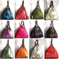 Wholesale Ethnic Bags - Embroidered Sequins Triangle Small Wallet Coin Purse Clutch Handbag Unique Chinese Ethnic style Cheap Women Silk Fabric Tote Bag 5pcs lot