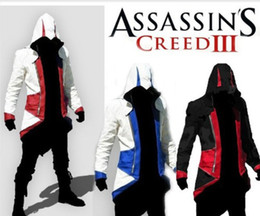 Wholesale Assassins Creed Jacket Conner - Wholesale-Assassins Creed 3 III Conner Kenway Hoodie Coat Jacket Cosplay Costume PU FAUX Free Shipping