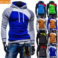 Wholesale Solid Orange Tracksuit - New Leisure Men's Hoodies Patchwork Colors Napping Fashion Men's Tracksuits Sweatshirts Hooded Men Coats 9 colors HS770