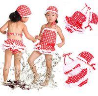 Wholesale Dropshipping S - Wholesale-Girls Cute Swimsuit Kids 2 Pieces Bikini w Hat Red&White Plaid Tankini 1-7 Years XL00002 dropshipping free shipping