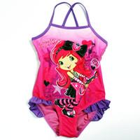 Wholesale Girl Costume Swimming Bathers - Wholesale-Girls Kids Baby 2-9y Purple Strawberry Shortcake Swimsuit Swimwear Bathers monokinis bathing suits Tankini Swim Costume cute