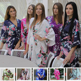 Wholesale Silk Print Robe - Wholesale- Silk Kimono Robe Bathrobe Women Satin Robe Long Silk Robes For Women Night Sexy Robes Night Grow For Bridesmaid Summer