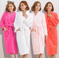 Wholesale Flannel Nightgown Xl - Wholesale-Bathrobe Women Robe For Women Free Shipping Qiu Dong Flannel Gown Thickening Of Coral Bathrobe Male Ladies Household To Take