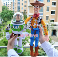 Wholesale Soft Plush Woody Doll - Wholesale-New Toy Story 40cm Woody & 32cm Buzz Lightyear Doll Soft stuffed plush + PVC Toy for children kids gift 2pcs set