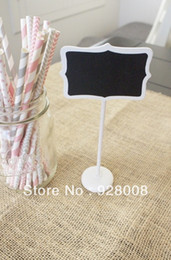Wholesale Free Standing Chalkboard - Wholesale-Free Shipping| 100 x WHITE MINI CHALKBOARD BLACKBOARDS ON STICK STAND PLACE HOLDER BRAND-NEW | WEDDING Party Decorations