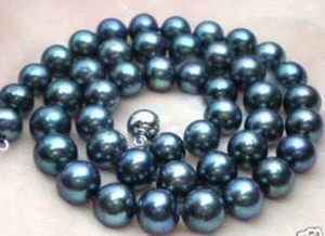 18INCHES 9-10MM GENUINE BLACK BLUE PEARL NECKLACE 14K