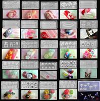 nagelformwerkzeug großhandel-Mischte 80 Entwürfe 3D Nagel-Kunst-Acrylsilikon-Silikon-Nagel-Form-Acryl DIY Dekoration neues Werkzeug