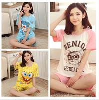 Wholesale- pijama women nightwear knitted pyjamas women cotton pajamas for women  two pieces sleepwear striped night gowns 348a040d8