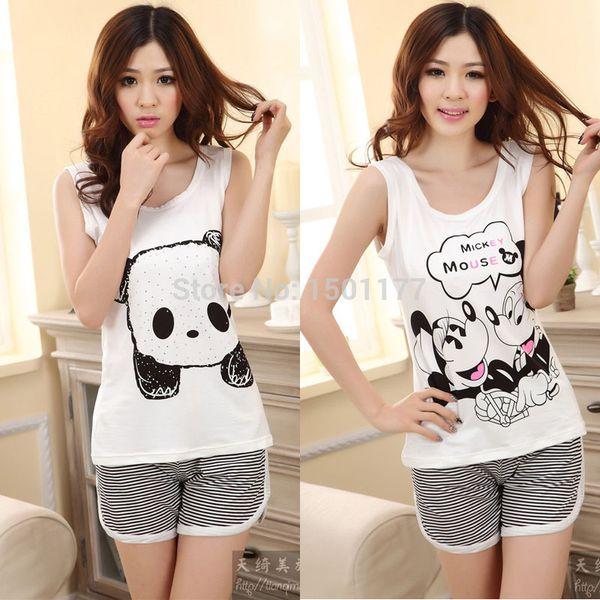Wholesale-Hot Sale Cute Soft women short summer Pyjama Women pajamas panda Femal nightwear 2 pieces pyjama set Woman pijama sleepwear