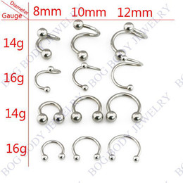 Wholesale 14g Labret Lip - Wholesale-12 Pieces set -16g & 14g Stainless Steel Circular Barbell Horseshoe CBB Septum Rings Eyebrow Cartilage Ring Labret Lip Bar