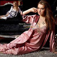 плюс размер шелковых пижамных наборов оптовых-Wholesale-Free Shipping Sexy Silk Satin Embroidery Lace Gallus+ Pants+ Robe 3 Piece Suit Pajama Sets Sleepwear Plus Size Lounge 2XL XXXL