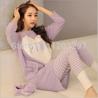 Wholesale Pajamas For Women Cheap - Wholesale- New Arrival Cheap Worth Autumn And Winer Casual Print Pajamas Sets For Women Long Sleeve Pijama Feminino Loose Sleepwear