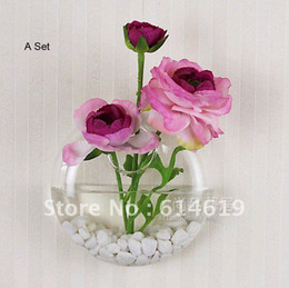 Wholesale Wedding Glass Vase Set - Wholesale-2015 new design, glass flower vase, hanging on wall, round, clear, high quality glass, set, home decoration, freeshipping