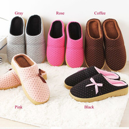 Wholesale Dot Flip Flop - Wholesale-Women Shoes Warm Soft Home Couple Lovers Slipper Polka Dot Bowtie Cotton Fabric Chinelo 2015 Indoor Flat Shoes Pantufa