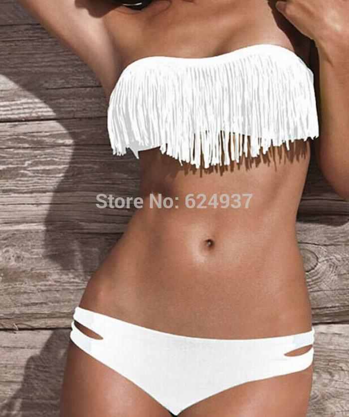 88fc8845944b 2019 Wholesale 2015 White Sexy Tassel Bikini Set Fashion Vintage Swimwear  Strapless Swimsuit Women Bandeau Biquini Bathing Suits 1000 From Regine, ...