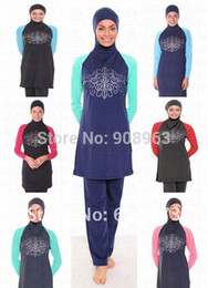 Wholesale Muslim Women Swimming - Wholesale-Plus sizes Free shipping women muslim swim wear islamic swimsuit muslim beachwear