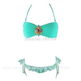 Wholesale Rhinestone Halter Bikini - Wholesale-2015 New Green Crystal Bikini Set Halter Bandeau Swimsuits Women Rhinestone Swimwear Padded Biquini 1286